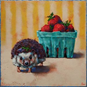 "SOLD ""Strawberry Shortcake,"" by Angie Rees 10 x 10 - acrylic $675 (unframed panel with 1 1/2"" edges)"
