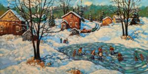 "SOLD ""Yesterday's Fun,"" by Rod Charlesworth 18 x 36 - oil $2890 Unframed"