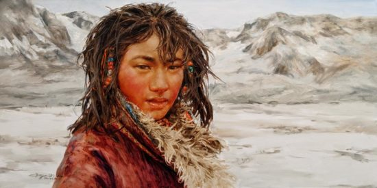 """""""Between Mountain Peaks,"""" by Donna Zhang 18 x 36 - oil $4920 (thick canvas wrap)"""