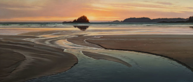 "SOLD ""Currents,"" by Ray Ward 18 x 42 - oil $4050 Unframed"