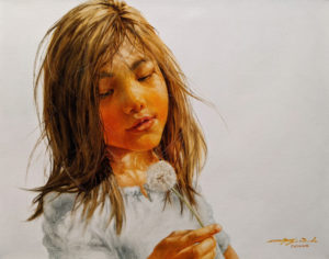 """""""Delightful Discovery,"""" by Donna Zhang 22 x 28 - oil $4700 Unframed"""