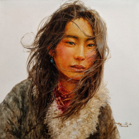 """SOLD """"Eldest Daughter,"""" by Donna Zhang 24 x 24 - oil $4500 Unframed"""
