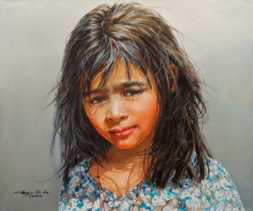 """SOLD """"Girl From Nepal,"""" by Donna Zhang 20 x 24 - oil $4030 Unframed"""