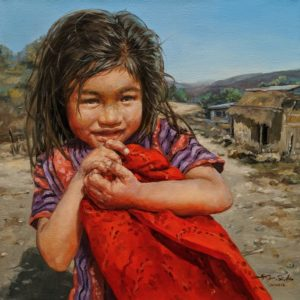 """""""Holding Her Blanket,"""" by Donna Zhang 18 x 18 - oil $2780 Unframed"""