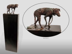 """Lost Dog,"" by Janis Woode Plate steel, wrapped copper wire 25"" (H) x 7"" (L) x 3"" (W) $3200"
