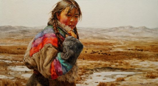 "SOLD ""Minding the Herd,"" by Donna Zhang 26 x 48 - oil $7200 Unframed"