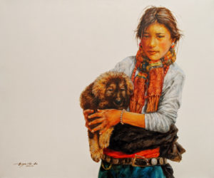 """""""My Young Protector,"""" by Donna Zhang 30 x 36 - oil $6350 Unframed"""