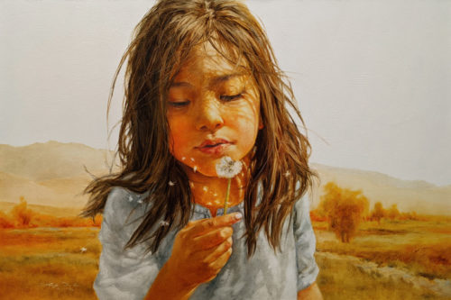 "SOLD ""A Pause Between Play,"" by Donna Zhang 24 x 36 - oil $6050 (thick canvas wrap)"