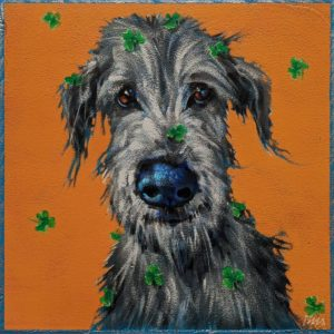 "SOLD ""Seamus: When Irish Eyes Are Smiling,"" by Angie Rees 8 x 8 - acrylic $425 (unframed panel with 1 1/2"" edges)"