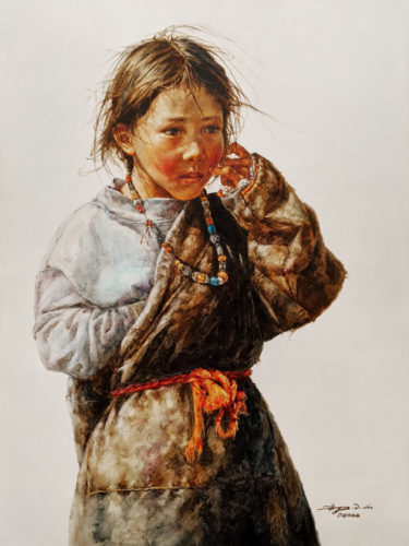 """SOLD """"Thoughtful,"""" by Donna Zhang 36 x 48 - oil $9750 Unframed"""