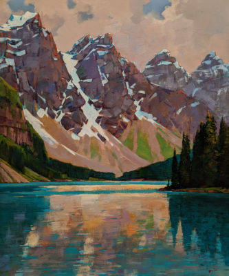 """The Approach of Summer, Moraine Lake,"" by Min Ma 30 x 36 - acrylic $5100 Unframed"