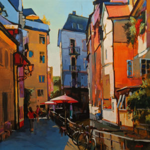 "SOLD ""Back Lane in Freiburg, Germany,"" by Mike Svob 20 x 20 - acrylic $2680 (thick canvas wrap)"