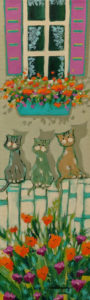 "SOLD ""Les chats de Mamie,"" by Claudette Castonguay 6 x 20 - acrylic $390 Unframed"