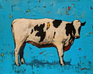 """Cow with Blue,"" by Min Ma 8 x 10 - acrylic $845 Unframed"