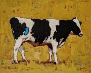 """Cow with Yellow,"" by Min Ma 8 x 10 - acrylic $845 Unframed"