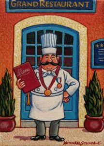 "SOLD ""The Culinary Guru,"" by Michael Stockdale 5 x 7 - acrylic $265 Unframed"
