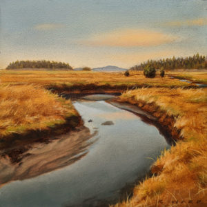 "SOLD ""Eastern Flow,"" by Ray Ward 4 x 4 (on 6 x 6 panel) - oil $525 Unframed"