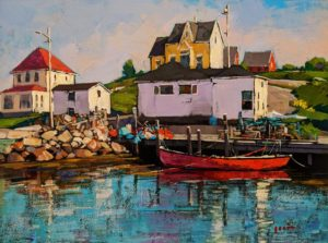 "SOLD ""Fishing Harbour, Nova Scotia,"" by Min Ma 9 x 12 - acrylic $1090 Unframed"