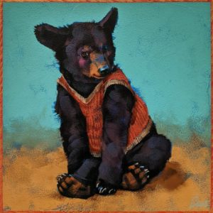"SOLD ""Gassy Jack: One Cheek Sneak,"" by Angie Rees 8 x 8 - acrylic $425 (unframed panel with 1 1/2″ edges)"