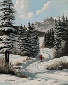 "SOLD ""Gliding Downhill,"" by Bill Saunders 8 x 10 - acrylic $650 Unframed"