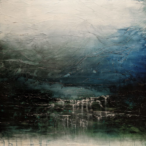 """""""Kissed by Water and Sky,"""" by Laura Harris 48 x 48 - acrylic $8450 (thick canvas wrap)"""