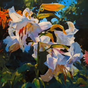 """A Lily Riot,"" by Mike Svob 24 x 24 - acrylic $3625 Unframed"