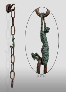 """Link,"" by Janice Woode Wrapped copper wire, reclaimed chain 37"" (H) x 5"" (L) x 4"" (W) $2500"