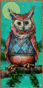 """SOLD """"A Little Argyle Style,"""" by Angie Rees 6 x 12 - acrylic $450 (unframed panel with 1 1/2″ edges)"""
