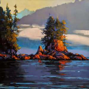 "SOLD ""Mist Rising, Barclay Sound, B.C.,"" by Mike Svob 24 x 24 - acrylic $3625 Unframed"