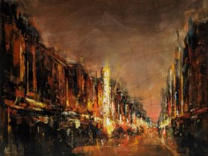 """SOLD """"Old Street,"""" by William Liao 18 x 24 - acrylic $1650 Unframed"""