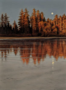 "SOLD ""Reflected Shoreline,"" by Ray Ward 8 x 11 (on 9 x 12 panel) - oil $1025 Unframed"