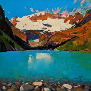 "SOLD ""Summer, Lake Louise,"" by Min Ma 16 x 16 - acrylic $1870 (thick canvas wrap)"