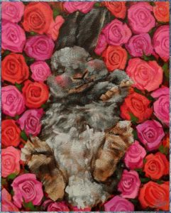 "SOLD ""Sweet Dreams,"" by Angie Rees 8 x 10 - acrylic $575 (unframed panel with 1 1/2″ edges)"
