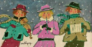 "SOLD ""Le jeune trio musical,"" by Claudette Castonguay 6 x 12 - acrylic $310 Unframed"