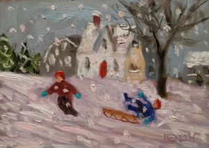 """SOLD """"Up the Hill,"""" by Paul Healey 5 x 7 - oil $275 Unframed"""