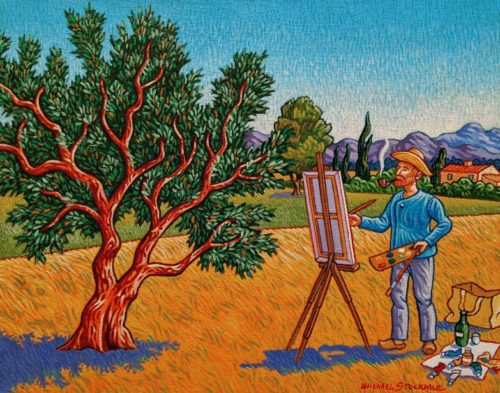 """Vincent and the Olive Tree,"" by Michael Stockdale 11 x 14 - acrylic $610 Unframed"