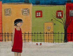 "SOLD ""Walking,"" by Louise Lauzon 7 x 9 - acrylic $330 Unframed"