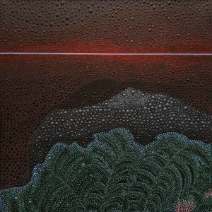 """And the Night Comes to Mount Temehani II,"" by Ewa Tarsia 20 x 20 - acrylic $1400 Unframed"