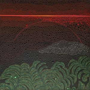 """SOLD """"And the Night Comes to Mount Temehani I,"""" by Ewa Tarsia 20 x 20 - acrylic $1400 Unframed"""
