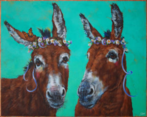 "SOLD ""The Flower Girls,"" by Angie Rees 16 x 20 - acrylic $1475 (unframed panel with 1 1/2"" edges)"