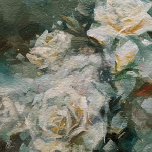 """""""Listen Quietly,"""" by William Liao 12 x 12 - acrylic $635 (artwork continues onto edges of wide canvas wrap)"""