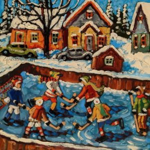 "SOLD ""Little Neighbourhood Rink,"" by Rod Charlesworth 10 x 10 - oil $830 (thick canvas wrap)"
