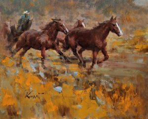 """""""The Running,"""" by Clement Kwan 8 x 10 - oil $1300 Unframed"""