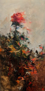 "SOLD ""Windswept Rose,"" by William Liao 12 x 24- oil $1150 Unframed"