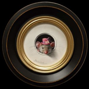 """SOLD """"Petite Souris 438″ (Little Mouse 438) by Marina Dieul 4"""" diameter plus frame (shown) – oil USD $900 Framed (approx. $1200 CAD Framed)"""