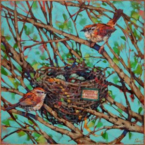 """""""Home Wrenovations,"""" by Angie Rees 12 x 12 - acrylic $825 (unframed panel with 1 1/2"""" edges)"""