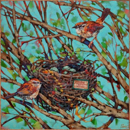 """Home Wrenovations,"" by Angie Rees 12 x 12 - acrylic $825 (unframed panel with 1 1/2"" edges)"