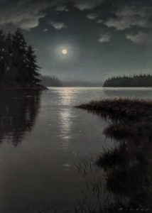 "SOLD ""Midnight Sky, Clayoquot,"" by Ray Ward 5 x 7 (on 6 x 8 panel) - oil $640 Unframed"
