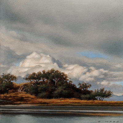"""""""Summer Storm Passing (Study)"""" by Ray Ward 5 x 5 (on 6 x 6 panel) - oil $625 Unframed"""