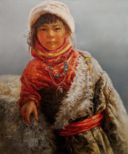 """SOLD """"Under the Radiant Sun,"""" by Donna Zhang 30 x 36 - oil $6350 Unframed"""
